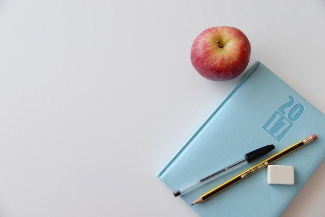 Ежедневник и яблоко