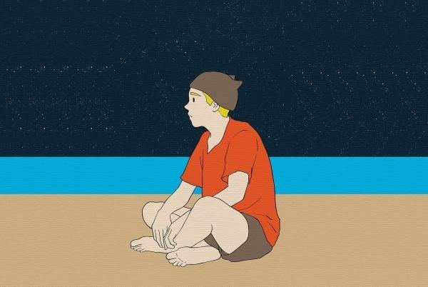 Мальчик на фоне звезд